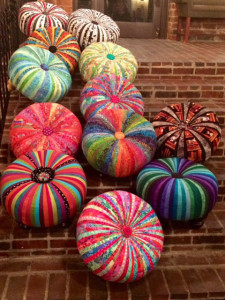 Many tuffets on brick