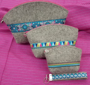 wooly clamshell pouches